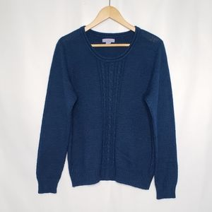 Laura Scott Blue Cableknit Front Sweater